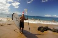 Paddleboarding Santa